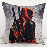 18 X 18 inches Red Deadpool Decorative Pillowcase, Black Superhero Sword Throw Pillow Cover Adventure Movie Themed Cushion Cover Square Shape Woven Plain Soft Cozy Elegant Luxurious Modern, Cotton