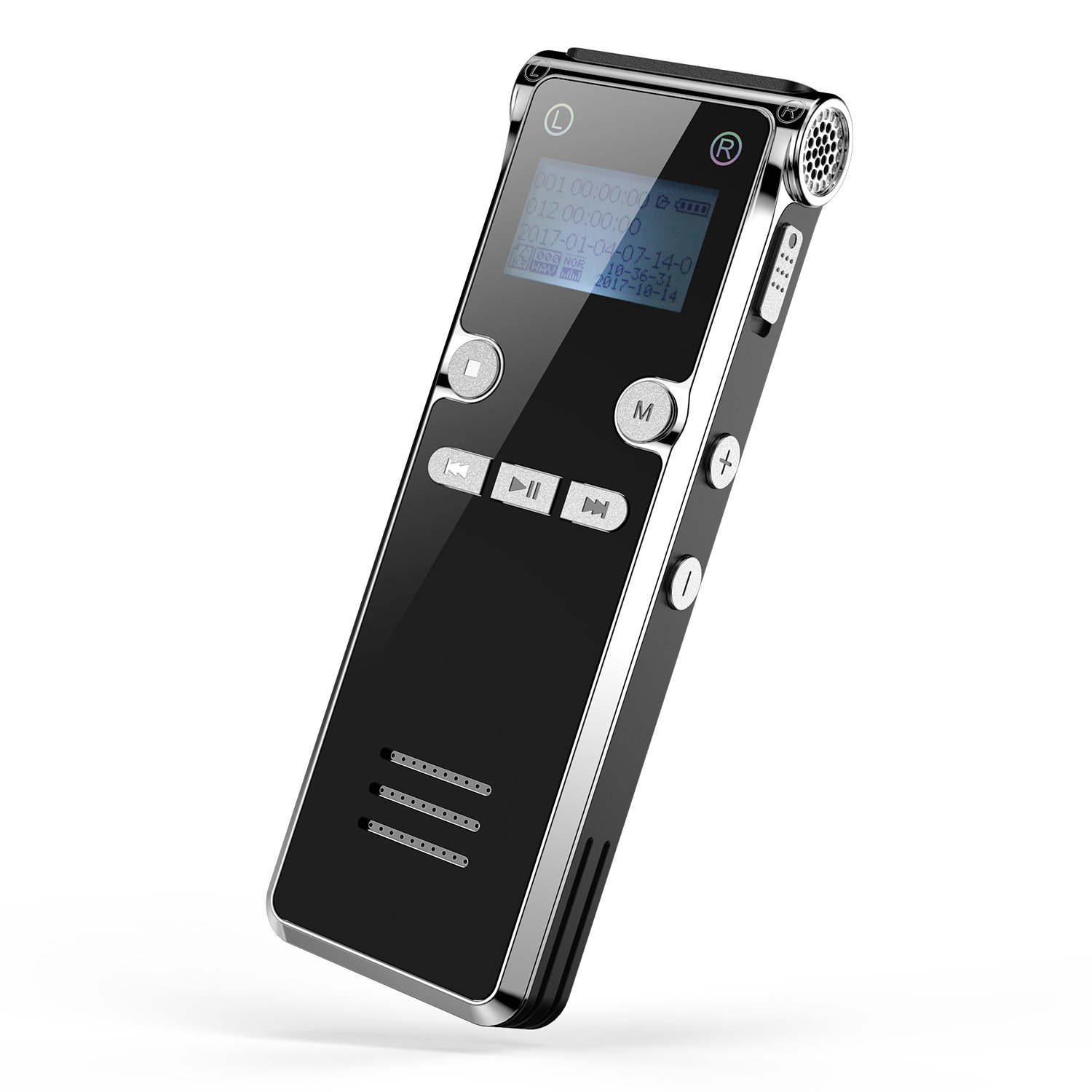 Digital Voice Recorder, Dr.meter 8GB Memory Audio Recorder Supports 32GB TF Card with 15m/49.2ft Recording Distance and MP3 Function Sound Recorder for Meeting Live or Class