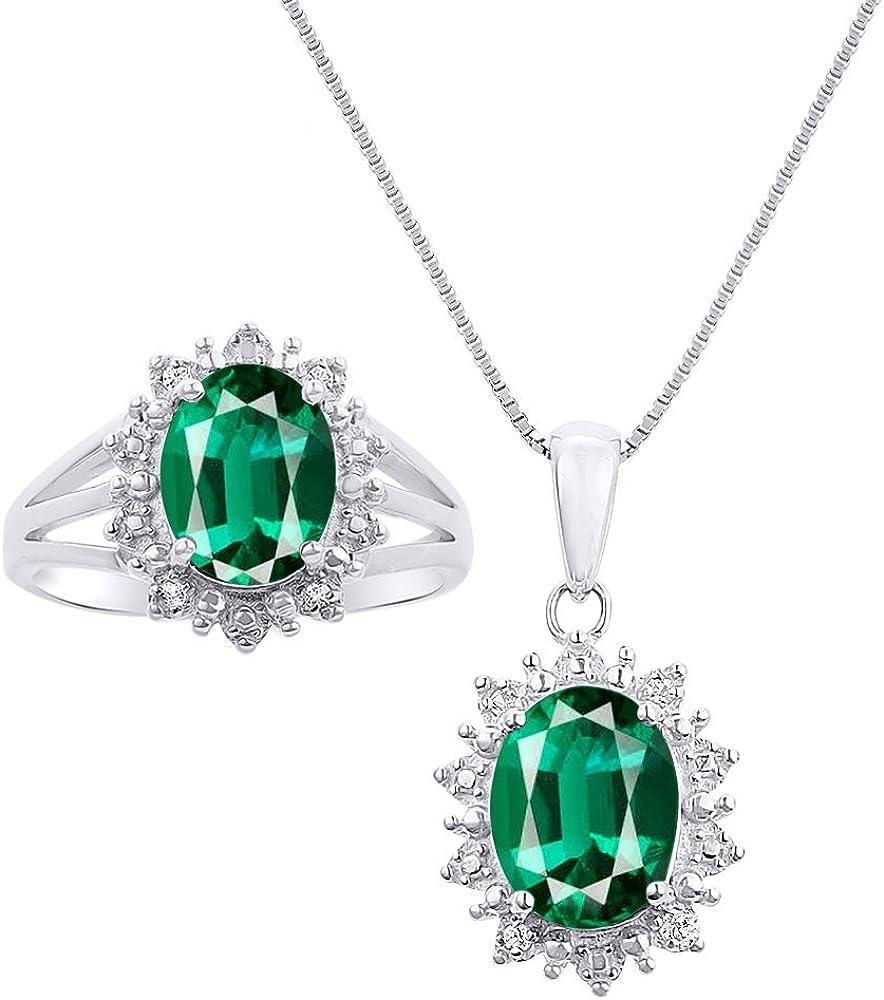 Juego de collar y anillo de diamantes y esmeralda a juego en oro blanco de 14 quilates con cadena de 45,7 cm – diseño de Halo Desginer inspirado en la princesa Diana