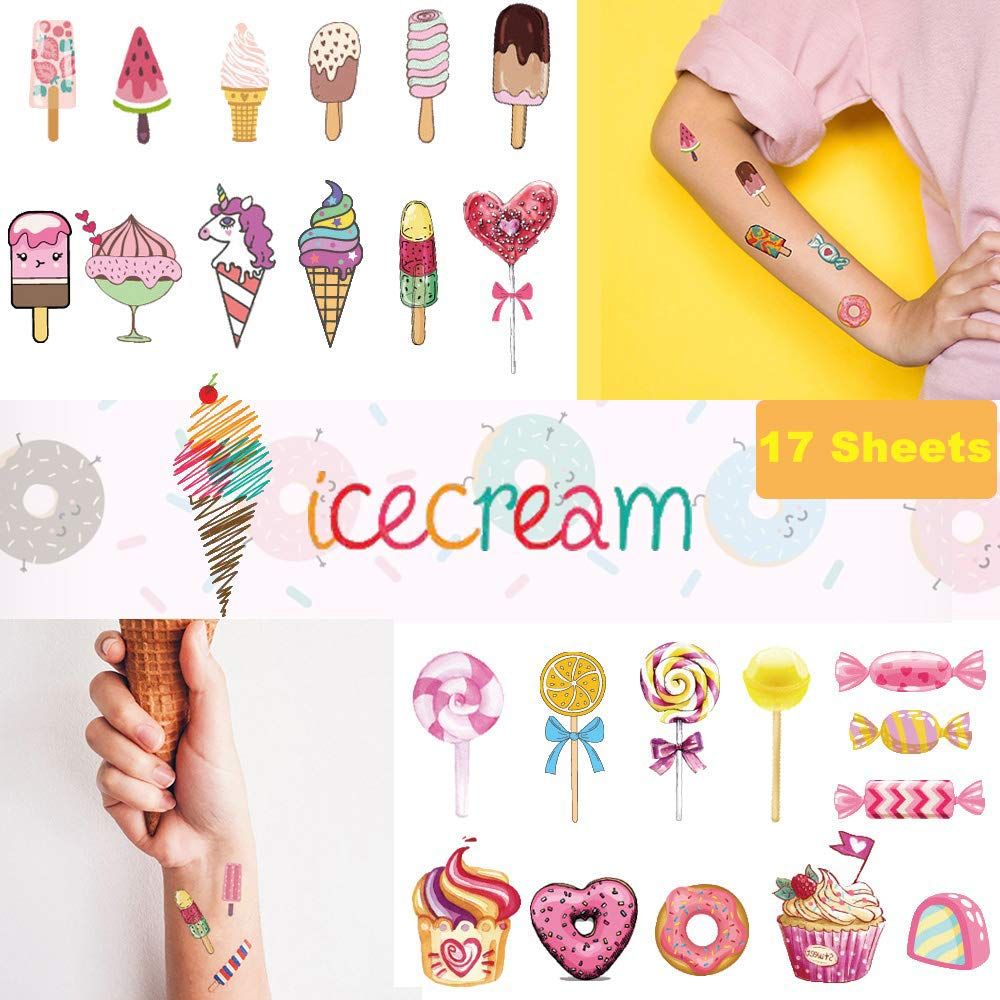 Ooopsi Ice Cream Temporary Tattoos for Kids 180PCS - Ice Cream, Lollies, Cookie, Cake Tattoo Stickers - Sweet Summer Tattoos Sticker for Girl Birthday Party Decorations Supplies Favors(17 Sheets)