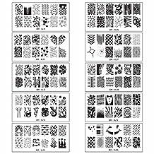 Bundle Monster 10pc Rectangular Full Nail Art Design XL Stamping Plates:11-20