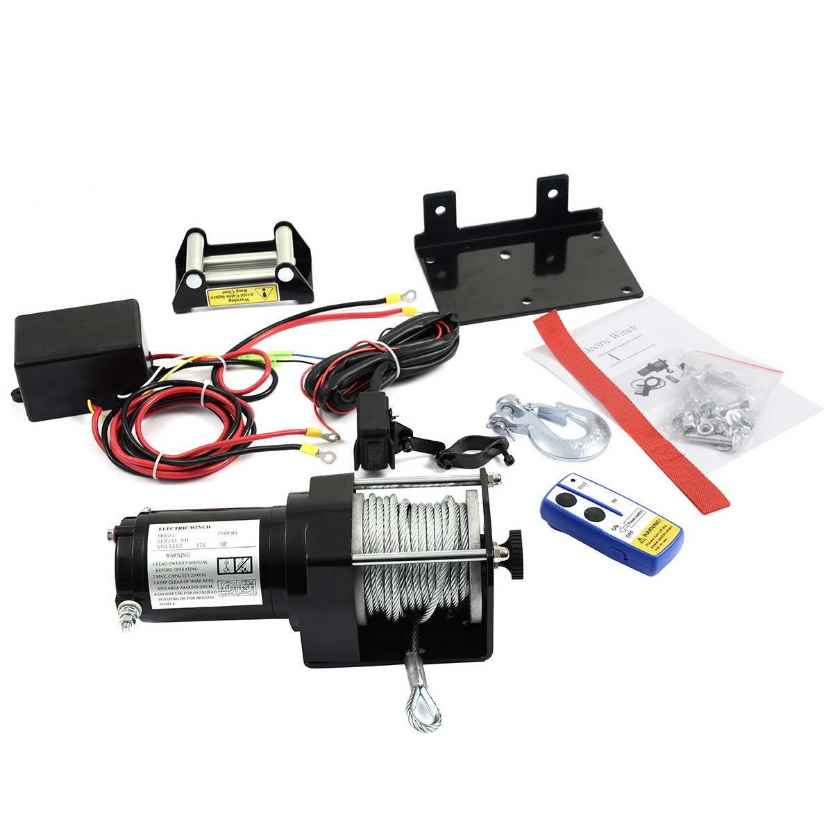 2500lbs DC 12V Electric Recovery Winch for SUV Truck Car with Wireless Remote Control Kit