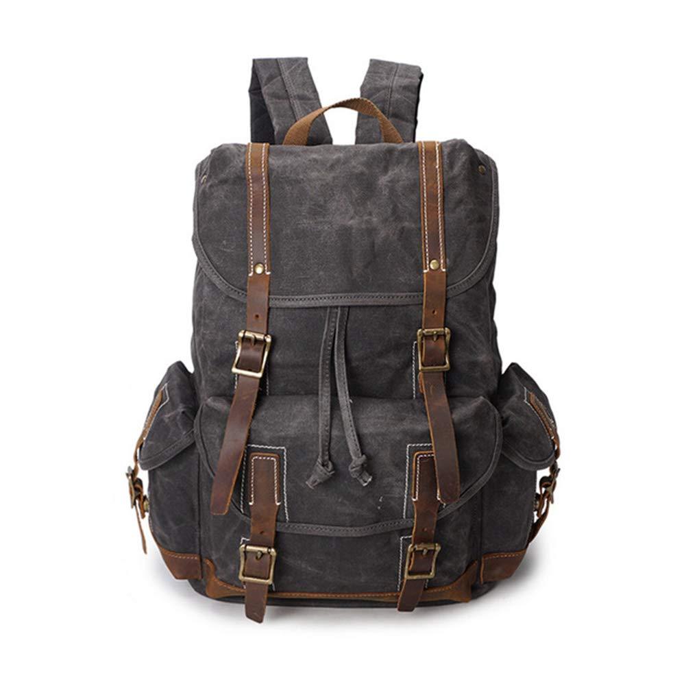 HXZB Canvas Shoulder Backpack Mens Travel Retro Waterproof Backpack