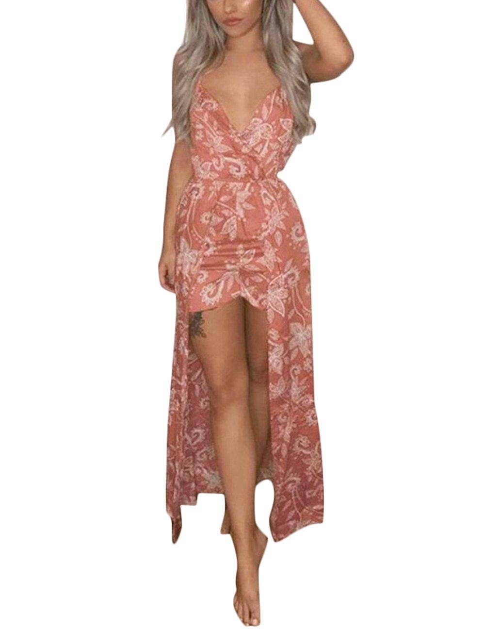 Kbook Womens Sleeveless V-Neck Floral Print Split Beach Party Maxi Romper Jumpsuit Dress