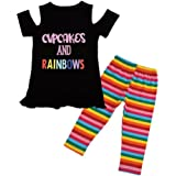 e63828b07397 Domybest 2pcs Summer Clothes Girls O-Neck Cold Shoulder Tops T-Shirt Stripe  Pants