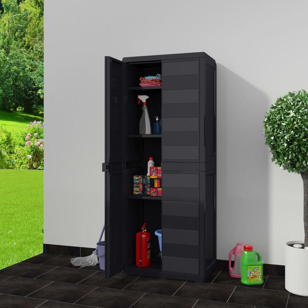 EBTOOLS - Armario de almacenamiento de jardín con 3 estantes ajustables, armario de jardín de polipropileno duradero, práctico para jardín, 65 x 38 x 171 cm, color negro