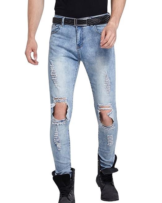 Uomo Pantaloni Jeans Super Skinny Elasticizzati Slim Fit