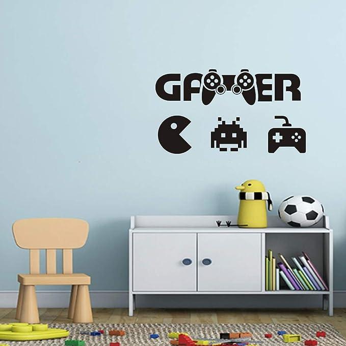 Gaming Wall Decal Kids Room Game Gamer Wall Sticker Gamepad Joystick Decor Sticker Eat Sleep Game Wall Mural Boys Bedroom Wall Art Decal Y132 57x32cm