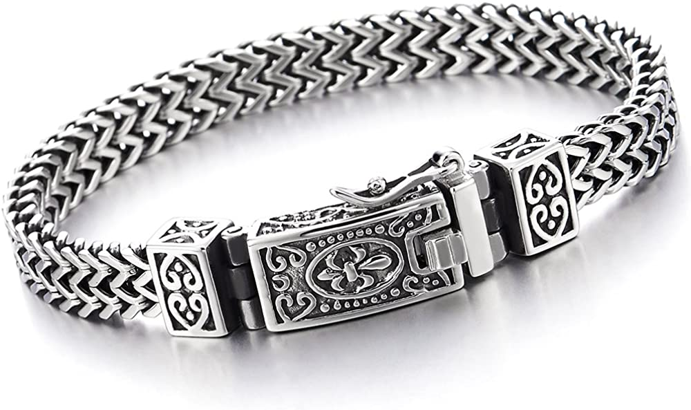 COOLSTEELANDBEYOND Stainless Steel Franco Link Curb Chain Bracelet for Man Vintage Fleur de Lis Spring Box Clasp 8.5 in