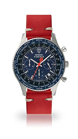 DETOMASO Firenze Reloj Caballero Cronógrafo Analógico Cuarzo Rojo Oscuro Correa de Piel Vintage Azul SL1624C-BL-783: Amazon.es: Relojes