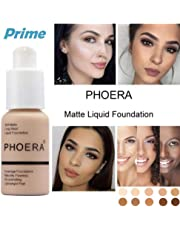PHOERA Foundation Liquid, Foundation Concealer Makeup Full Coverage New Flawless 30ml Matte Oil Control Concealer Foundation Cream (Buff Beige #104)