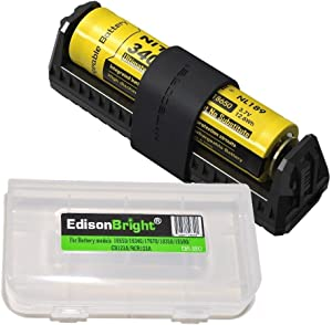 Nitecore F1 powerbank Equipped Battery Charger, Nitecore NL189 3400mAh 18650 Rechargeable Li-ion Battery with EdisonBright Brand BBX3 Battery case Bundle