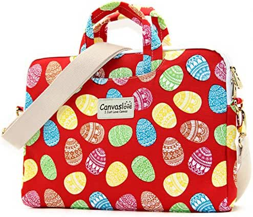 Canvaslove Red Easter Egg Pattern Canvas Laptop Shoulder Messenger Bag Case Sleeve Laptop Briefcase for 14 Inch 15 Inch Laptop Macbook Pro 15 Case Laptop Briefcase 15.6 Inch