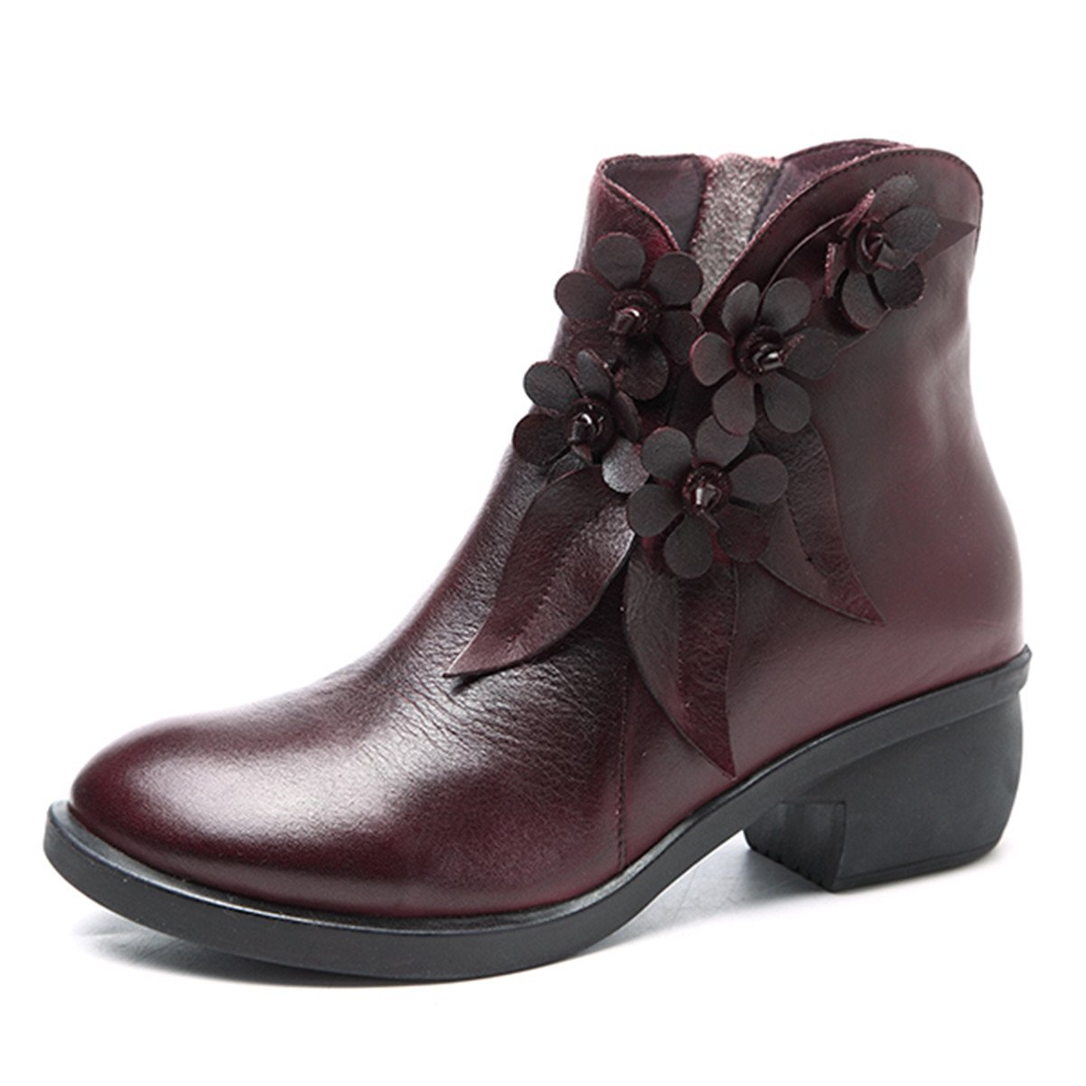 Socofy Leather Ankle Bootie, Women's Vintage Handmade Fashion Leather Boot Rose Floral Shoes Oxford Boots B077G6YKT4 9 M US|Red Style 2