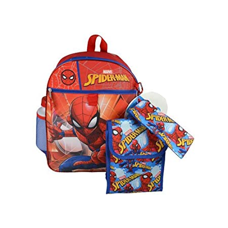 Marvel Spider-Man Backpack Book Bag Accessories and Lunch Bag with Water Bottle for Back to School - 5 Piece Set
