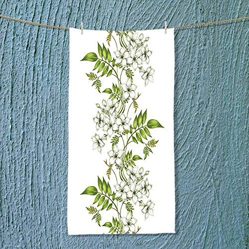 SOCOMIMI Absorbent Towel Vector Jasmine Floral Design with Leaf Spring Time Romantic Fresh Garden Green and Soft Cotton Durable