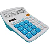 OFFIDIX Office Desktop Calculator, Solar and Battery Dual Power Electronic Calculator Portable 12 Digit Large LCD Display Calculator, Blue