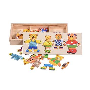 Holzspielzeug Lustige Bärchen Holzpuzzles mit Kiste Holzspielzeug
