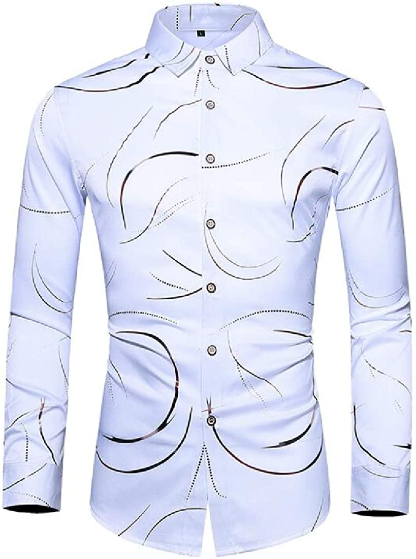Rrive Mens Casual Long Sleeve Button Down Big /& Tall Printing Dress Shirt Top