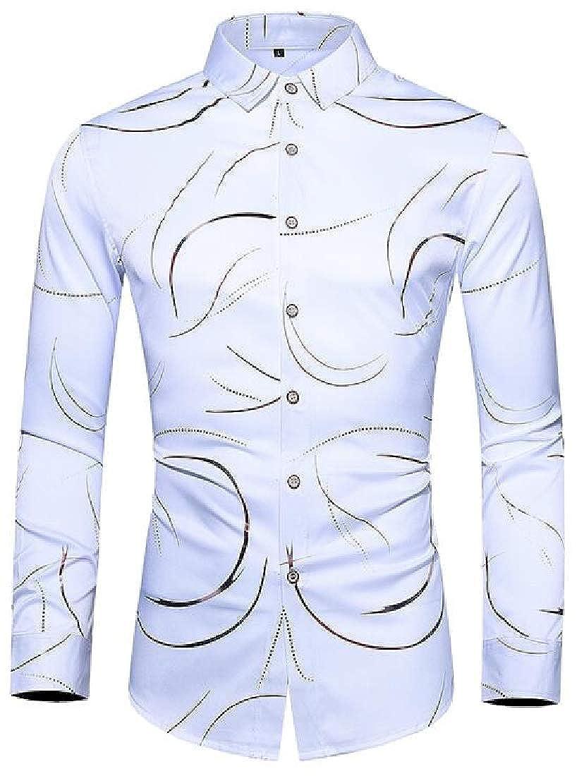 Zantt Mens Button Down Casual Big /& Tall Print Long Sleeve Dress Shirt Top