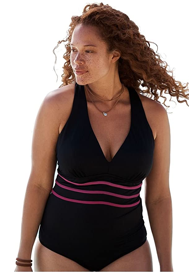 bf548ae599b Woman Within Plus Size Multi-Strap Active Swimsuit at Amazon Women's  Clothing store: