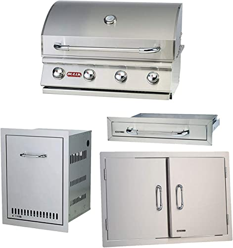 BULL Outdoor Natural Gas Outlaw Drop-in Barbecue Grill with Accessory Package