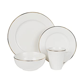 Charmant Jay Imports 16 Piece Alanna Gold Rimmed Bone China White Dinnerware Dining  Tableware Set