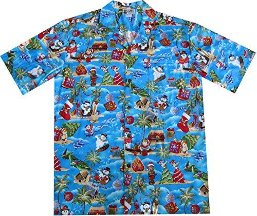 Snowman Hawaiian - Aloha Republic Large Blue Christmas Holiday Hawaiian Shirt With Frosty The Snowman