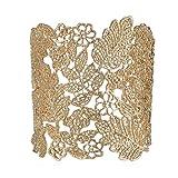 eManco Adjustable Vintage Lace Wide Cuff Bangles Bracelets for Women Silver or Rose Gold or Gold or Black