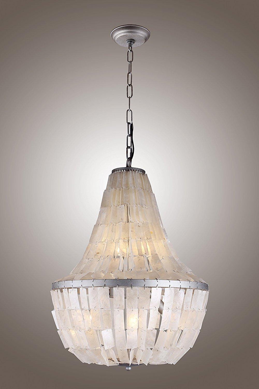18 inches pendant chandelier rectangular coastal capiz shells