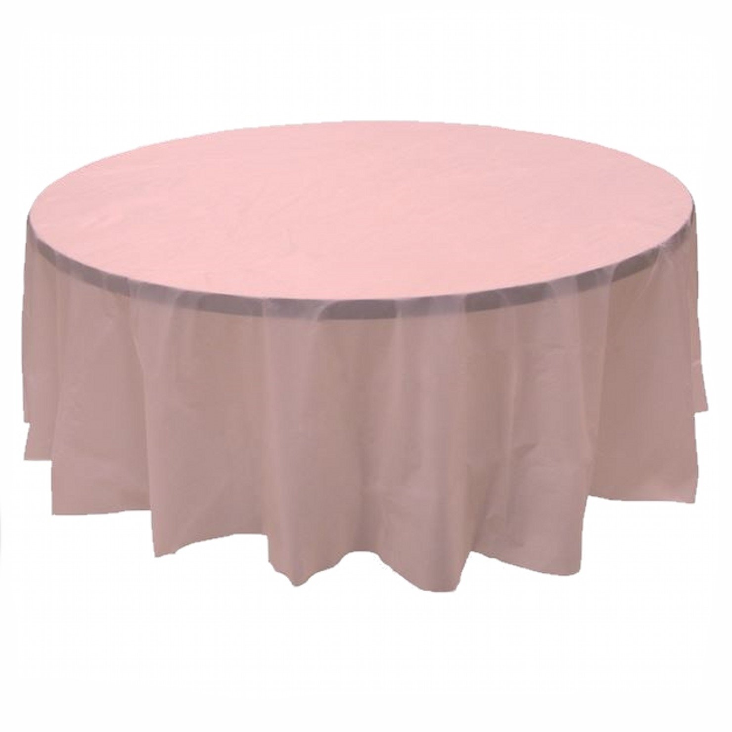 24 pcs (1 case) of Plastic Heavy Duty Premium Round tablecloths 84'' Diameter Table Cover - Pink by CC