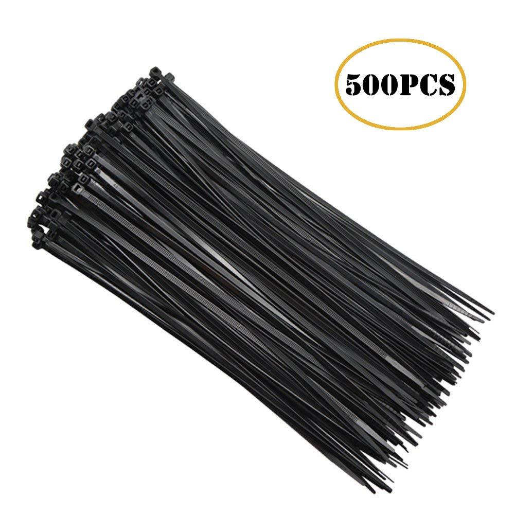 Black Nylon Cable Zip Ties, Releasable Adjustable 8 Inch Wire Ties 500 PCS