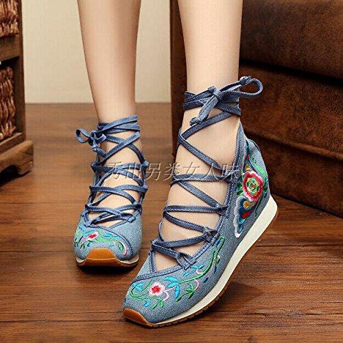 Xing Lin Sandalias De Cuero Nuevo Calzado Mujer Zapatos De Tela Bordada De Estilo Étnico Mayor Zapatos Casual Zapatos De Mujer Mujer Blue standard code