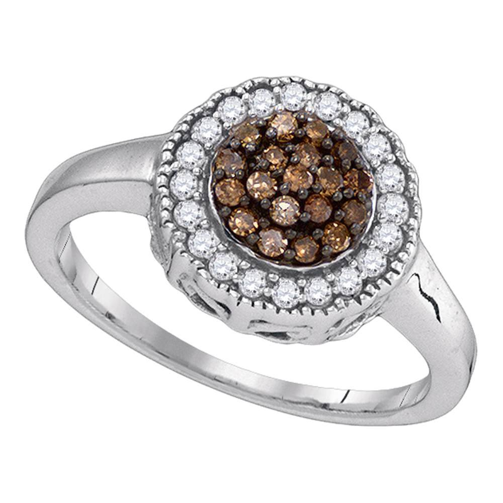Brown Diamond Flower Ring Sterling Silver Round Halo Band Chocolate Cluster Style Milgrain Edge 1/3 ctw by GemApex