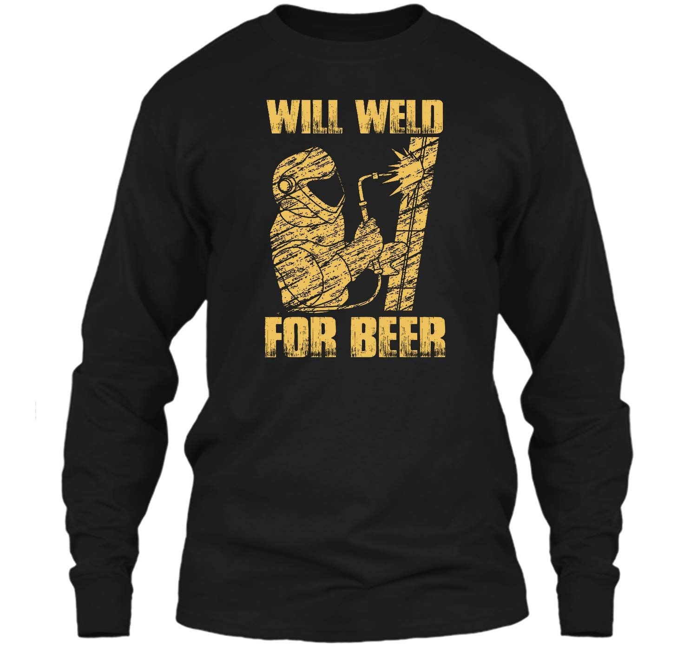 Zenladen Funny Welder Welding Gifts Will Weld for Beer Black L LS Ultra Cotton Tshirt