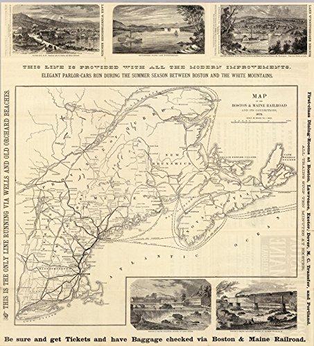 Timetables Railroad (Timetable Map | 1879 Map Boston & Maine Railroad. | Historic Antique Vintage Reprint)