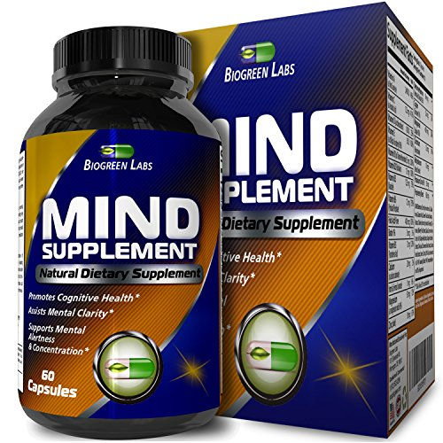 Natural Mind and Memory Supplement – Increases Mental Performance & Clarity – Supports Brain Function – Made with Pure Green Tea Extract + DMAE Bitartrate + Vitamins – 60 Capsules by Biogreen Labs