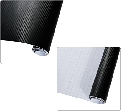 Anpro 2 Rollen 3d Carbon Folie Aufkleber Schwarz Für Auto Car Sticker Wrapping Auto Und Motorrad Diy 1520mm X 300mm Auto
