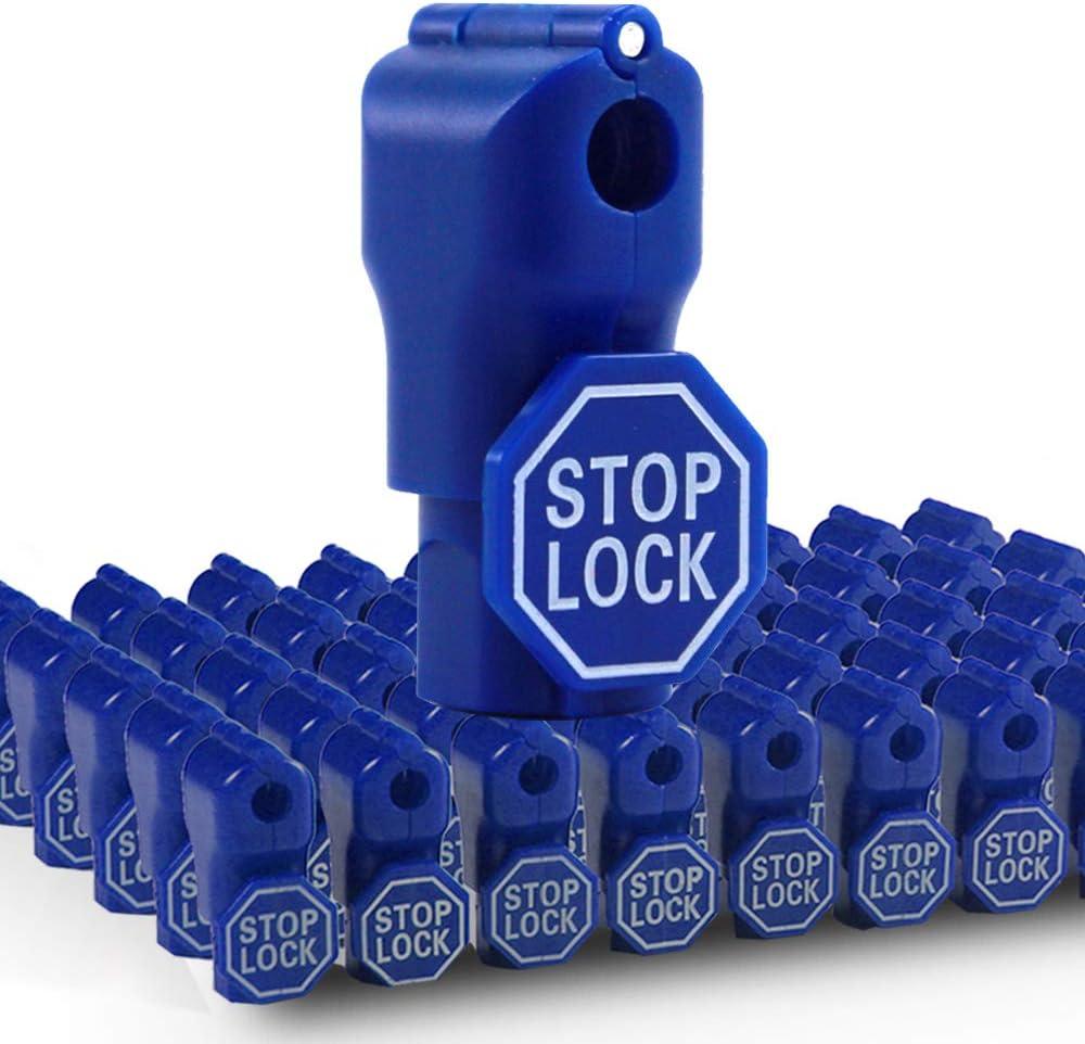 Betertek Peg Hook Locks, Blue 50pcs Hook Stop Lock Anti Theft Peg Locks for Retail Security Display Hook Lock Magnetic Stop Locks for Slatwall and Pegboard Hooks