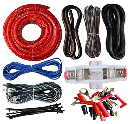 Silver Wire Twisted Audio (SoundBox Connected 4 Gauge Amp Kit Amplifier Install Wiring Complete 4 Ga Installation Cables 2200W)