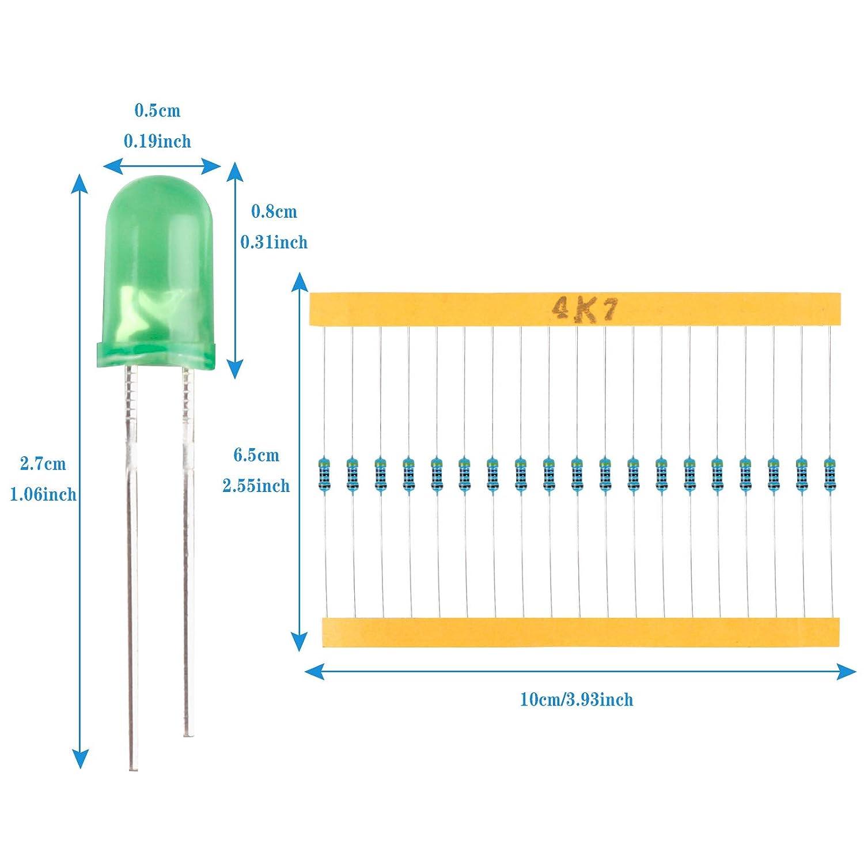 mit 600 St/ück Widerstandssortiment Metallfilm Widerstand Set von 10 Ohm bis 1 MOhm mit 30 Werten Wei/ß Rot Gelb Gr/ün Blau Rundkopf LED Yangfei 500 St/ück 5mm LED Leuchtdioden