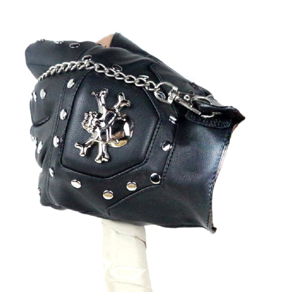 Amosfun 1 Paar Rivet Windproof Long Chain Halbfinger Punk Style Handschuhe f/ür Sportreiten M/änner Verwenden Halbfingerhandschuhe