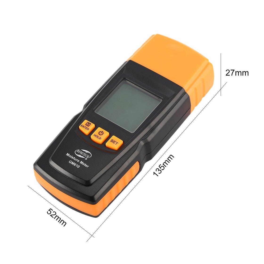 BENETECH GM605 Pantalla LCD digital Medidor de humedad de madera Probador de humedad Timber Tree Tree Damp Detector 2 Pines Hygrometer