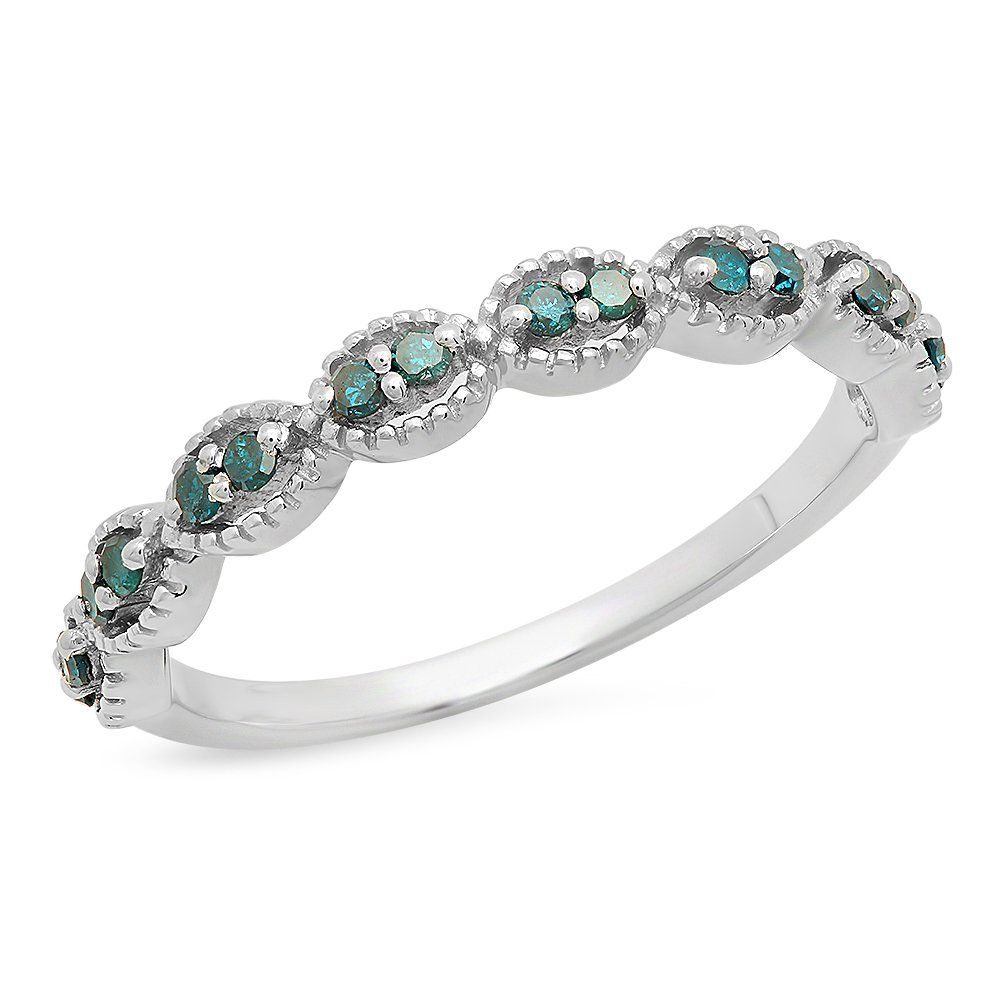 Dazzlingrock Collection 0.20 Carat (ctw) Sterling Silver Round Blue Diamond Ladies Wedding Stackable Band 1/5 CT, Size 7.5