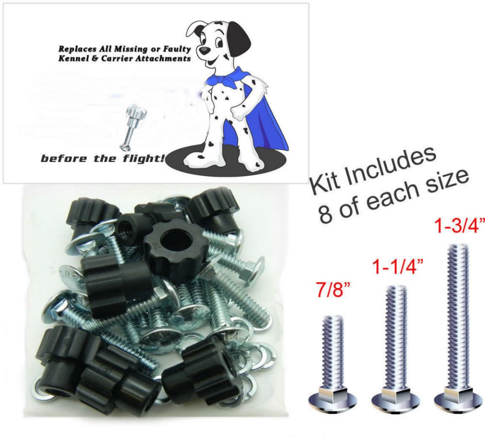 Pet Carrier Black-8pk Kennel Replacement Nut Bolt Fasteners