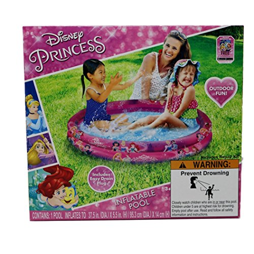 Disney Princess 37.5 Inch Round 2-Ring Inflatable Kiddie Pool with Easy Drain Plug includes Repair Kit