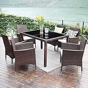 Amazoncom Merax 7piece Outdoor Wicker Dining set Dining table