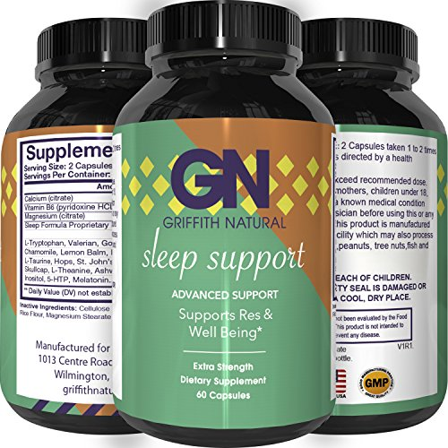 Natural Sleep Aid Pills – Best Herbal Sleeping Formula – Melatonin – GABA – L Theanine – 5 HTP – Top OTC Revitalizing Supplement Stack – Fall Asleep Fast – for Adults – Griffith Natural