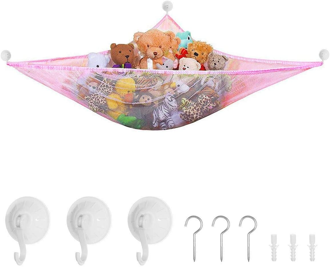 Yuccer Toy Storage Hammock for Stuffed Animals Teddies, Large Mesh Toys Holder Net Organiser with 6 Strong Hooks for Kids Bedroom (Pink, 7ft)