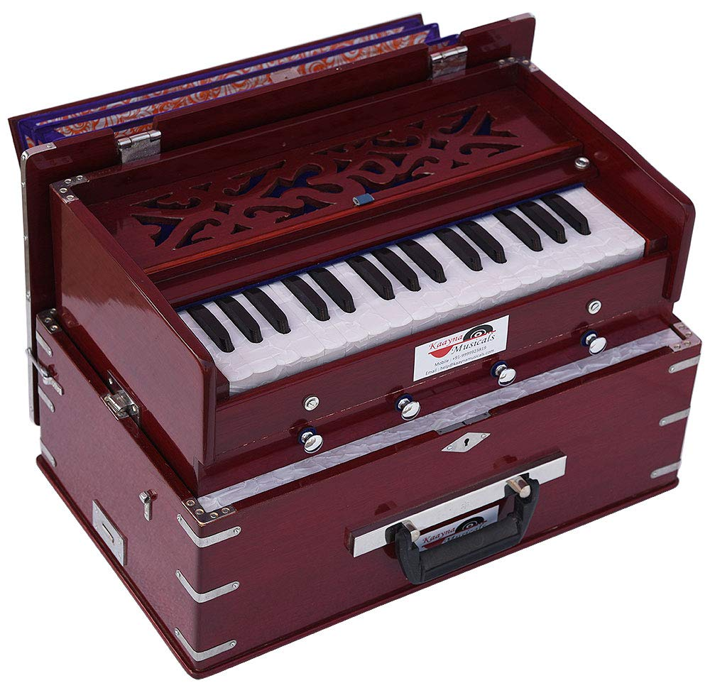 OM Safri Harmonium- 2¾ Octave By Kaayna Musicals-Portable, Traveler, Baja, 4 Stop (2 Drone), Two Set Reed- Bass/Male, Dark Color, Gig Bag, Tuning: 440Hz, Suitable for Yoga, Bhajan, Kirtan, Mantra, etc